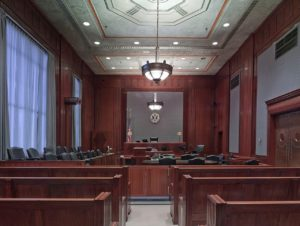 empty courtroom ready for a criminal jury trial to begin